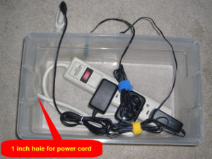 Inserting the power strip and charging bricks